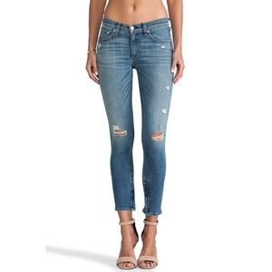 Rag & Bone Distressed Zipper Capri Jeans Shredded